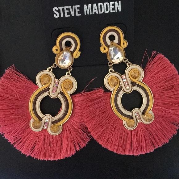 New Steve Madden Threads, stones, Fringe Earrings